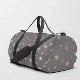 Rose gold Christmas stars geometric pattern grey graphite industrial cement concrete Duffle Bag