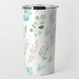 Pastel green teal hand painted watercolor leaves floral Travel Mug