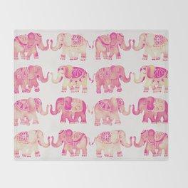 Pink Elephants Throw Blanket