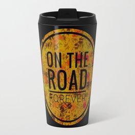 """on the road"" black Travel Mug"