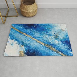 Blue Skies [2]: a pretty, abstract mixed-media piece in blue, gold and white Rug