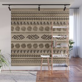 Aztec Tribal Pattern Beige and Gold Wall Mural