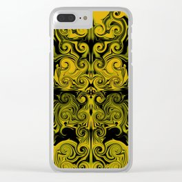 Yellow swirls art Clear iPhone Case