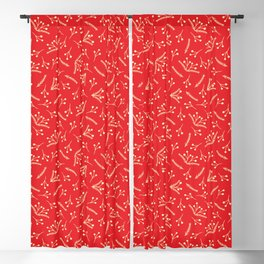 Christmas Branches and Berries in red and yellow Blackout Curtain