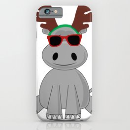 Holiday Hippo Christmas Reindeer Hippo iPhone Case