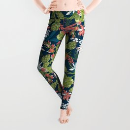 Succulent Garden Navy Leggings