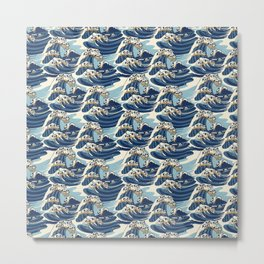 The Great Wave of Pug Pattern Metal Print