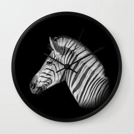 Monochrome Zebra Portrait Wall Clock