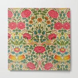 William Morris Roses Floral Textile Pattern Metal Print