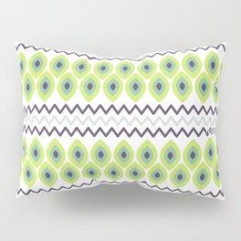 Abstract avocado green black geometric zigzag stripes pattern Pillow Sham