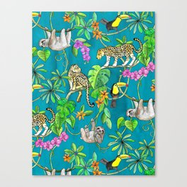 Rainforest Friends - watercolor animals on textured teal Canvas Print