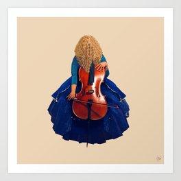 Cellist in Blue II Art Print