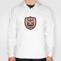 maori Hoodies featuring Maori Mask Shield Retro by patrimonio