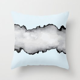 Light Blue Gray and Black Graphic Cloud Effect Throw Pillow