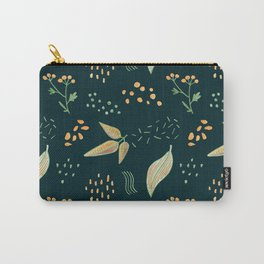 Yellow Leaves On Dark Green Crayon Drawing, Colorful Autumn Pattern Carry-All Pouch