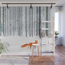 Fox in the white snow winter forest illustration Wall Mural