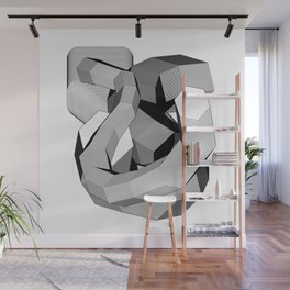 Abstract Geometric 3D Heart Wall Mural