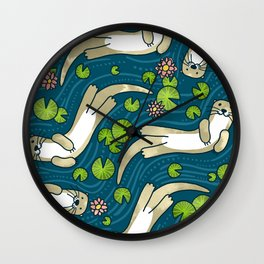 Otter and Water Lily Wall Clock