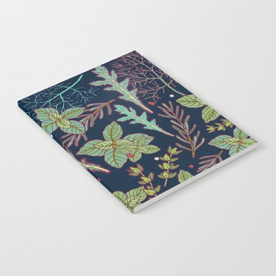 dark herbs pattern Notebook