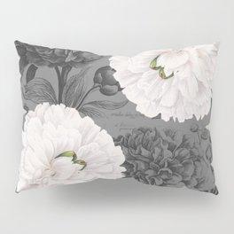 White Peony Grey Chic Pillow Sham