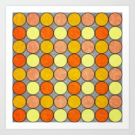 Polka Brights (yellow/orange) Art Print