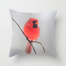 A Cardinal In A Snow Fall Throw Pillow