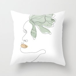 Minimal floral line drawing Throw Pillow