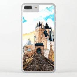 Berg Eltz Castle watercolor painting Clear iPhone Case