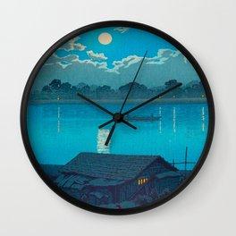 Vintage Japanese Woodblock Print Fishing Village At Night Fishing Boat Moonlight Wall Clock