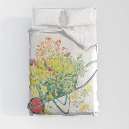 flowers in green handcart watercolor  Comforters