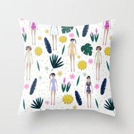 Topical Girls Throw Pillow