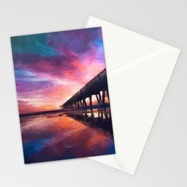 The Pier Sunset Stationery Cards