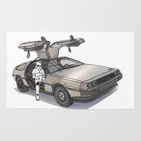 mcfly Area & Throw Rugs featuring Stormtroooper in a DeLorean - star wars by Vin Zzep