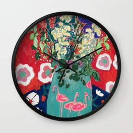Wild Flowers in Flamingo Vase Floral Painting Wall Clock