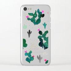 Cactus Desert Pink Dusk Moon Clear iPhone Case