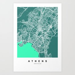 Athens - Greece Map | Green & Turquoise Colors Art Print