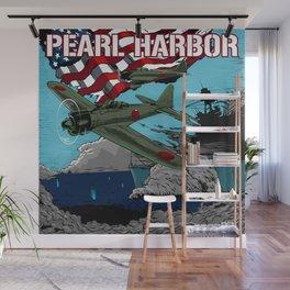 Attack on Pearl Harbor illustration. Wall Mural