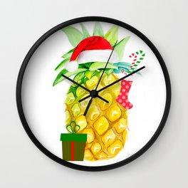 holiday pineapples Wall Clock