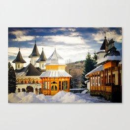 Winter at Slatioara Monastery, Moldova, Romania Canvas Print