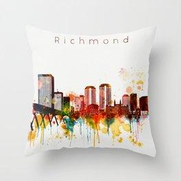 Watercolor Richmond Virginia Skyline Throw Pillow