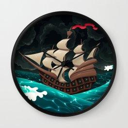 Galleon in the sea.  Wall Clock
