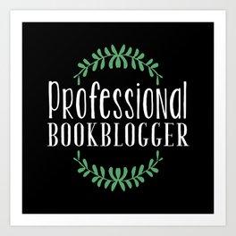 Professional Bookblogger - Black w Green Art Print