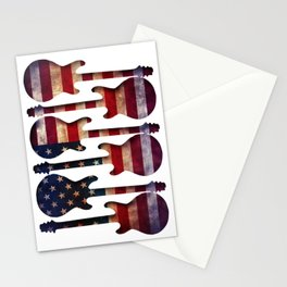American Flag Guitar Art Stationery Cards