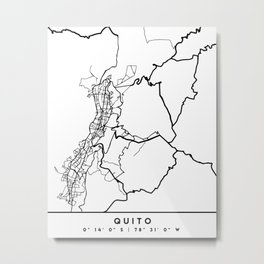 QUITO ECUADOR BLACK CITY STREET MAP ART Metal Print
