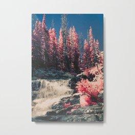Pink trees and waterfall Metal Print