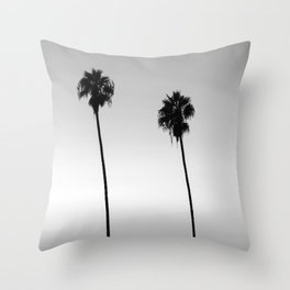 Black and White San Diego Palms - California Throw Pillow