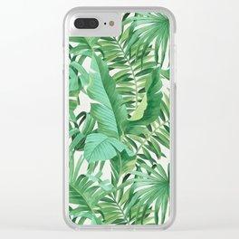 Green tropical leaves III Clear iPhone Case