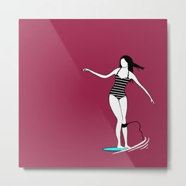 Surfer Girl Surfing in Bikini Metal Print