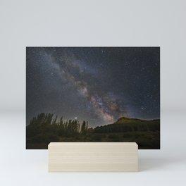 Milky way over mountains and trees. Scorpio, Sagitarius and Jupiter.Sierra Nevada National park Mini Art Print