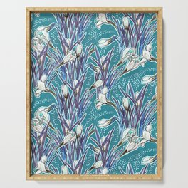 Crocuses, floral pattern in turquoise, blue and white Serving Tray